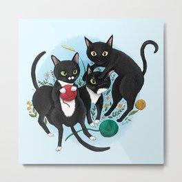 Black Cats Goofing Around Metal Print