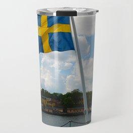 Flag of Sweden on Stern of Ship at Stockholm Travel Mug