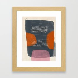 Gray Mono Form with Orange Scoops and Netting Framed Art Print