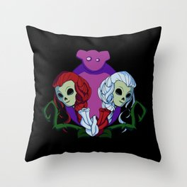 Snow White and Red Rose Throw Pillow