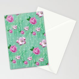 Blossom Willow Flower Pattern Turquoise & Pink Stationery Cards
