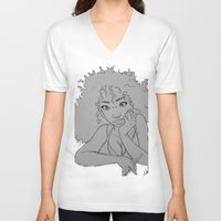 artsy V-neck T-shirts featuring Artsy Girl by radaaban
