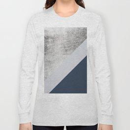 Modern minimalist navy blue grey and silver foil geometric color block Long Sleeve T-shirt
