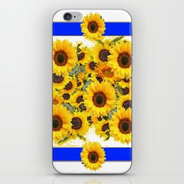 CLASSIC WHITE & BLUE SUNFLOWERS ART iPhone Skin