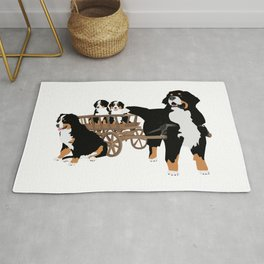 Family of Bernese Mountain Dogs with Wooden Wagon Rug