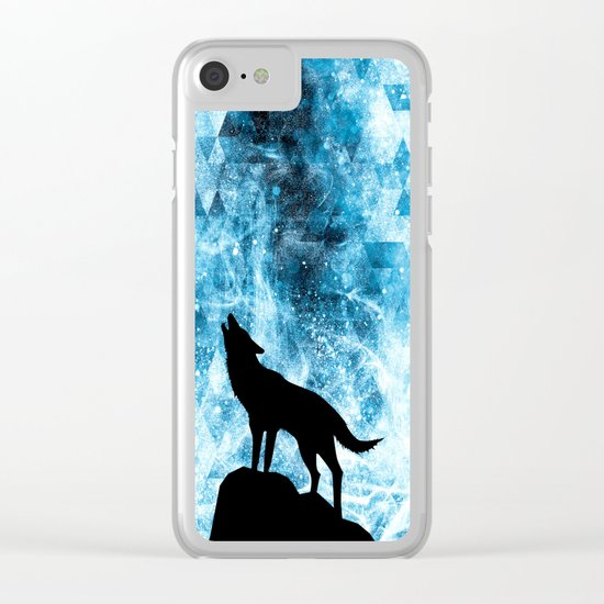 Howling Winter Wolf snowy blue smoke Clear iPhone Case