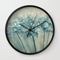 sparkles Wall Clocks featuring Drops & Sparkles by Sharon Johnstone