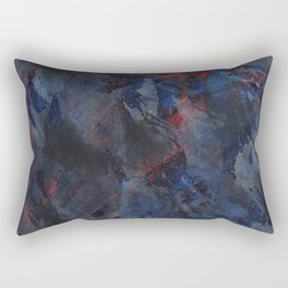 Black and White Ink on Blue and Red Background Rectangular Pillow