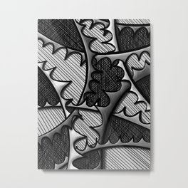 Monochromatic Intertwining Spikes Metal Print