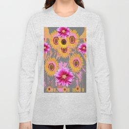 YELLOW SUNFLOWERS & PURPLE DAHLIAS GREY ABSTRACT Long Sleeve T-shirt