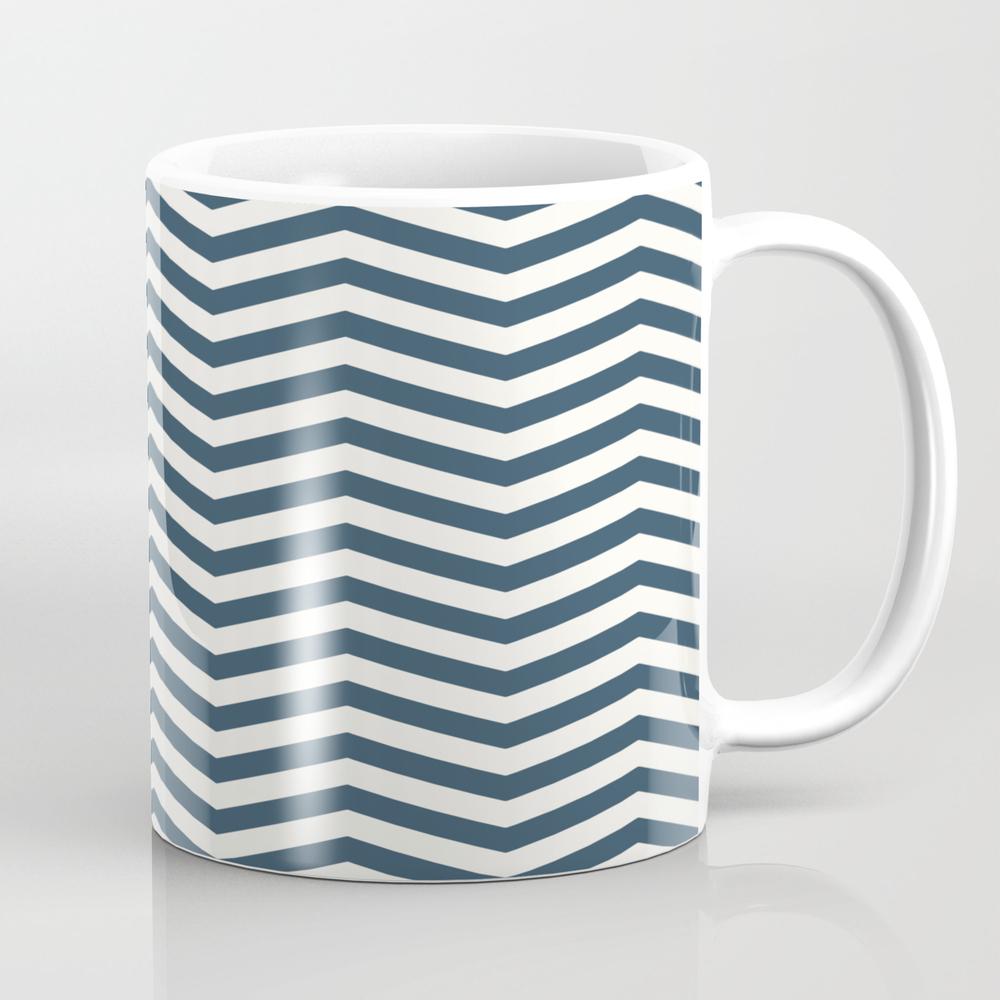 The Midnight & Cream Chevrons Coffee Cup by Design_fury MUG7795379