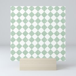 Rustic Farmhouse Checkers in Sage Green and White Mini Art Print