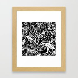 Black White Floral Framed Art Print