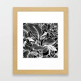 Black White Floral Minimalist Framed Art Print