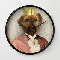 brussels Wall Clocks featuring Queen of Brussels by The Lonely Pixel