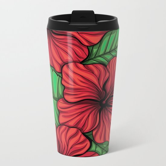 Bouquet of hibiscus flower and tropical leaves Metal Travel Mug