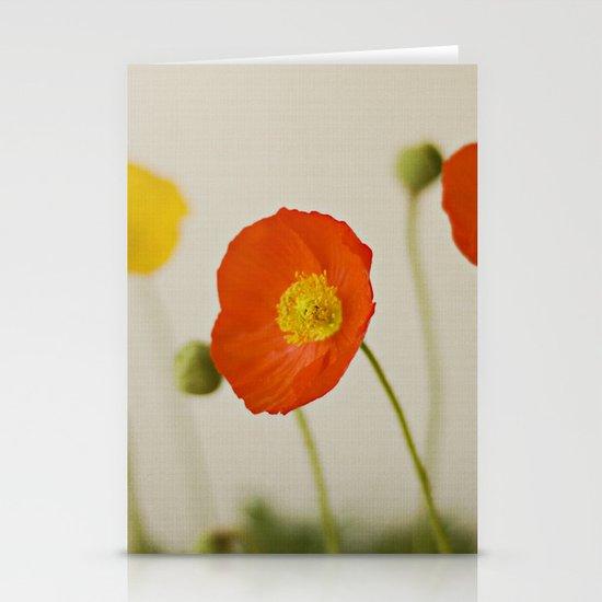 Orange Poppy Bloom Red Green Yellow Flower Stationery Cards