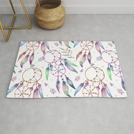 Watercolor Boho Dream Catcher Pattern Rug