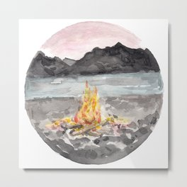Campfire, Mountain Landscape, Camping Metal Print