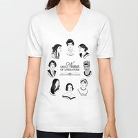 literature V-neck T-shirts featuring Great Women of Literature by geeksweetie