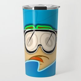 Swimmer Cartoon Character with Magic Feet Travel Mug