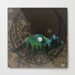 Racoon Spirit in Soft Brown,Emerald Greens and Blues Metal Print