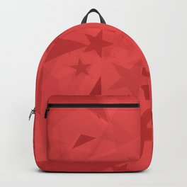 Chaotic large purple stars on a garnet background in projection and with depth. Backpack