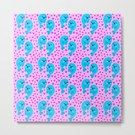 Blue cute sweet baby seals in the sea of pink hearts marine animal pattern. Nursery pattern. Metal Print