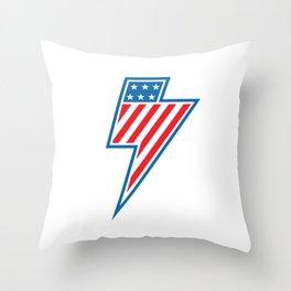 American Lightning Throw Pillow