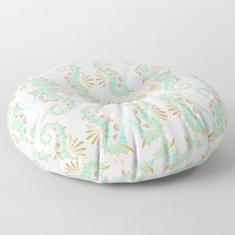 Cute seahorse in aqua pink and gold accents Floor Pillow