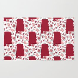 Alabama state silhouette university of alabama crimson tide floral college football gifts Rug
