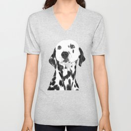 Black and White Dalmatian Unisex V-Neck