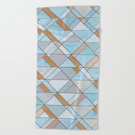 Shifting Pattern Turquoise and Gold Beach Towel