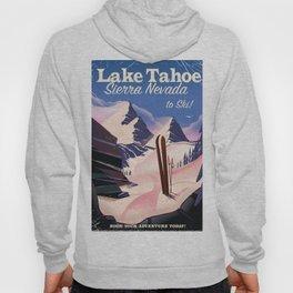 Lake Tahoe vintage ski travel poster Hoody