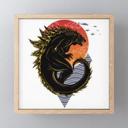 Godzilla & red moon Framed Mini Art Print