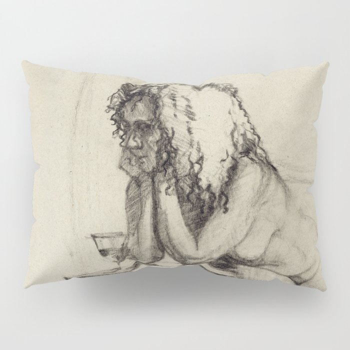 'The Unwinding' Charcoal Drawing Nude woman drinking Wine Pillow Sham