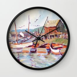 Lake Boats At Dock Wall Clock