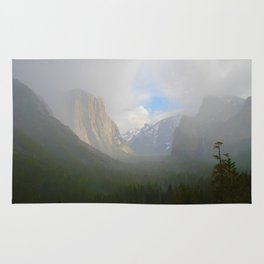 Fog Clearing at Yosemite Valley Rug