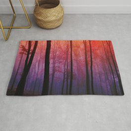 Whispering Woods, Colorful Landscape Art Rug