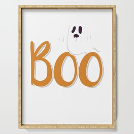 Boo with Ghost Spooky Halloween Trick Or Treat Serving Tray