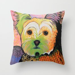 Daisy...Abstract animal pet portrait dog art, Yorkshire Terrier Throw Pillow