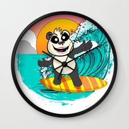 Panda Riding A Surfboard Catching Waves Wall Clock