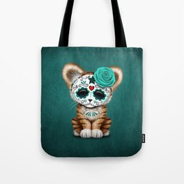 Blue Day of the Dead Sugar Skull Tiger Cub Tote Bag