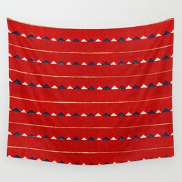 Triangles On Red Background Japanese Shima-Shima Pattern Wall Tapestry