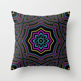 CYMK Kaleidoscope Throw Pillow