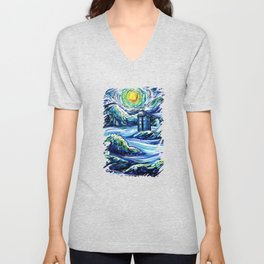 Tardis Lost In The Middle Wave Unisex V-Neck