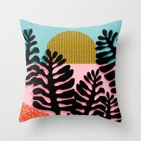 coachella Throw Pillows featuring B.F.F. - throwback 80s style memphis design neon art print hipster brooklyn palm springs resort patt by Wacka