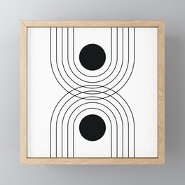 Geometric Lines in White and Black 8 (Rainbow and Sun Abstraction) Framed Mini Art Print