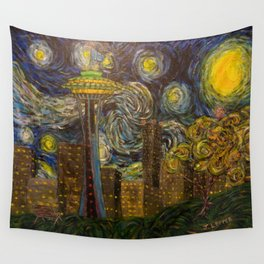 Dedication to Van Gogh: Seattle Starry Night Wall Tapestry