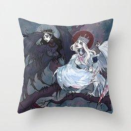 Sirin and Alkonost Throw Pillow